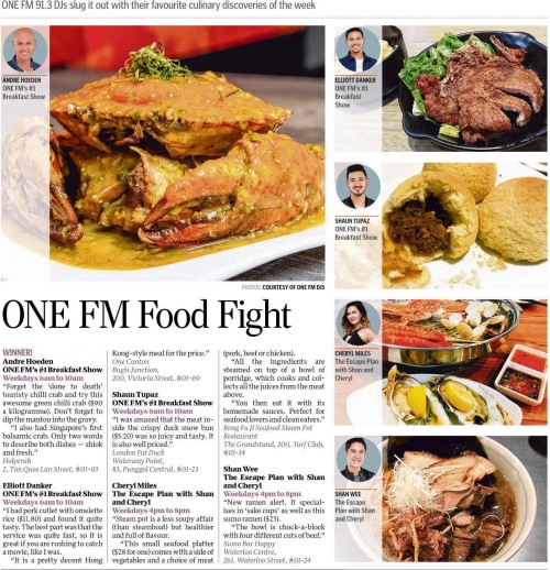 Top pick on One FM Food fight by Andre Hoeden.