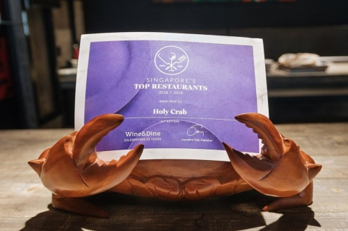 Awarded by Wine&Dine 2018-2019 on Singapore's Top Restaurant